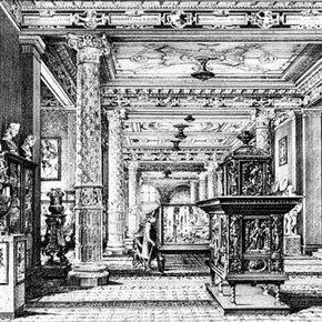 Engraving by John Watkins showing The Ceramic Galleries, about 1875