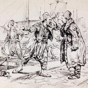 W T Maud, 'Jewish Stevedores on the quay at Thessalonica', 1902, Museum no. SD.638