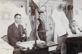 Francis Johnston (left) and fellow designers in the drawing office at Vicars and Poirson. Museum no. AAD/2001/1/1