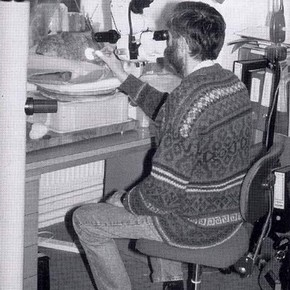 Fig.3. Richard Cook working on a polychrome stone head.