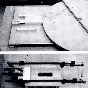 Top: Jig for separating veneer from base wood using wheel with off-centre axis, which pushes veneer panel into a wedge set at panels glueline. Bottom: Simple jig for separating mortice and tenon joints