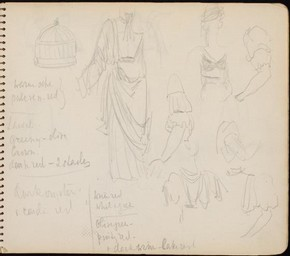 Sketch book page for 'The Merchant of Venice', Sophie Fedorovitch, 1947. Museum no. S 1338-1986