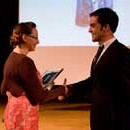 Sara Fell receiving the award for 'Access' from Matthieu Decraene, New Audience and Access Officer at the Louvre Museum, Inspired By 2008