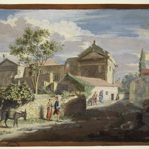 View of the back of the Temples of Rome and Augustus, Pola by James Stuart