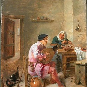 Adriaen Brouwer (1605/6-1628), Interior of a Room with Figures, Museum No. CAI. 80, Oil on panel (368 x 297 mm)