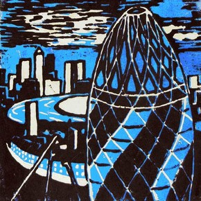 Lino print based on London buildings by a student at Park View Academy