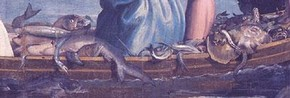 Fishes and eels (detail) in The Miraculous Draught of Fishes by Raphael
