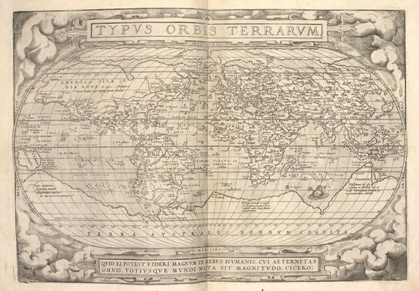 Map of the World from Theatrum Orbis Terrarum, Belgium, 1591. National Art Library Pressmark: RC.S.13