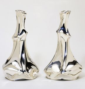 Pair of candlesticks, Schoonhoven, Holland, 1999, mark of Jan van Nouhuys, silver. Museum no. M.20-2000, © Victoria and Albert Museum, London