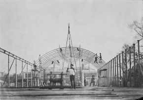 Exterior view of the roof of the South Kensington Museum  (the 'Brompton Boilers') under construction, albumen print, 1856. Museum no. 34:966 CIS. © Victoria and Albert Museum, London.