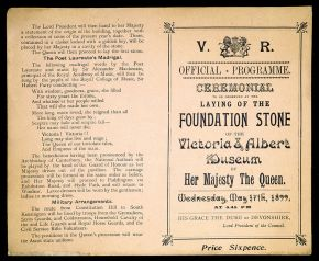 Official programme for the laying of the Foundation Stone of The Victoria & Albert Museum,  1899. Museum no. E.1458-1984 CIS. © Victoria and Albert Museum, London.
