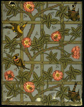'Trellis' woodblock printed wallpaper, by William Morris, England, 1864. Museum no. E.452-1919, © Victoria & Albert Museum, London