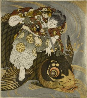 Woodblock print, Oniwakamaru subduing the Giant Carp, Totoya Hokkei, about 1830-1832. Museum no. E.3826:1&2-1916, © Victoria and Albert Museum, London