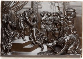 Patinated bronze plaque, Solomon and the Queen of Sheba, Giuseppe Piamontini, about 1700-10. Museum no. A.32-1959, © Victoria and Albert Museum, London