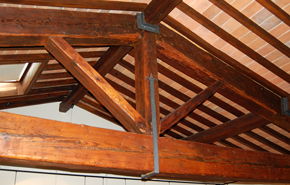 Figure 7 - Santa Chiara, Florence: Roof beams in the former nuns' choir. Photograph: Donal Cooper