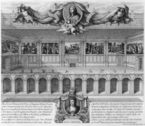 The cartoons installed at Hampton Court in 'The Seven Famous Cartons[sic] of Raphael Urbin', by Simon Gribelin, 1720. Museum no. Dyce.2504, © Victoria and Albert Museum, London