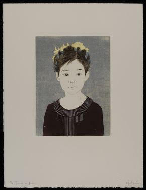 Ellen Heck: Tomoko as Frida, 2012, woodcut and drypoint Museum no. E.651:35-2014