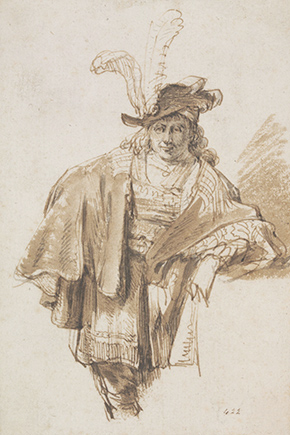 Gerbrand van den Eeckhout, Drawing of a man with a plumed hat, 17th century