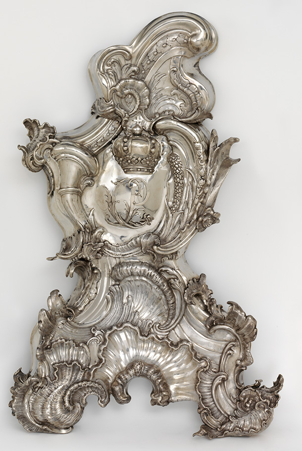 Fragment of a wall fountain, mark of Mark of Philipp Jakob Drentwett VI, 1747-49, Germany (Augsburg), embossed silver. Museum no. M.71-1954, © Victoria and Albert Museum, London