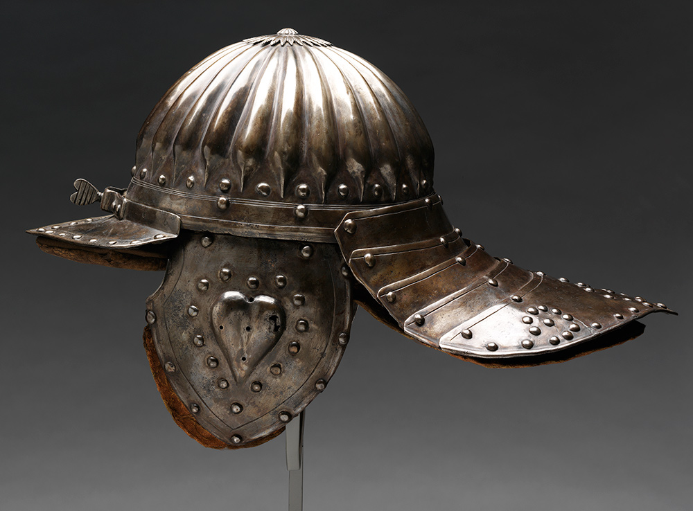 Light cavalry helmet, about  1630, South Germany (Nuremberg), blued and embossed steel. Museum no.  M.2710-1931, © Victoria and Albert Museum, London