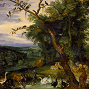 The Temptation in the Garden of Eden by Jan Breughel the elder, about 1600, Southern Netherlands, now Belgium (Antwerp), oil on oak panel. Museum no. 340-1878, © Victoria and Albert Museum, London