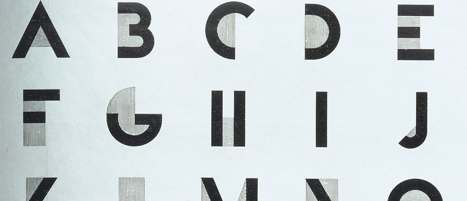 Detail of plate 578 - Bifur; - Alphabet Dessiné Par Cassandre from Arts et Métiers Graphiques, No.9; published by Harchard et Cie. France, 1929.
