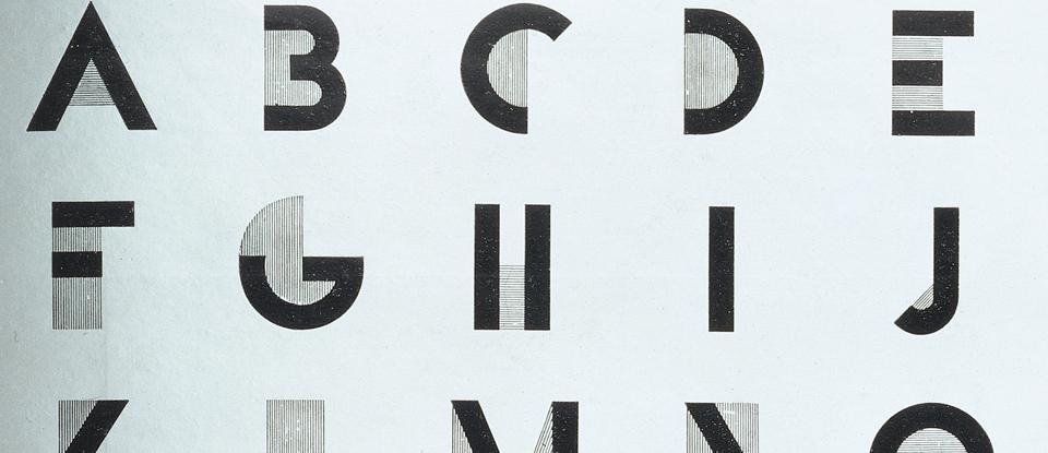 Detail of plate 578 - Bifur; - Alphabet Dessiné Par Cassandre from Arts et Métiers Graphiques, No.9; published by Harchard et Cie. France, 1929.