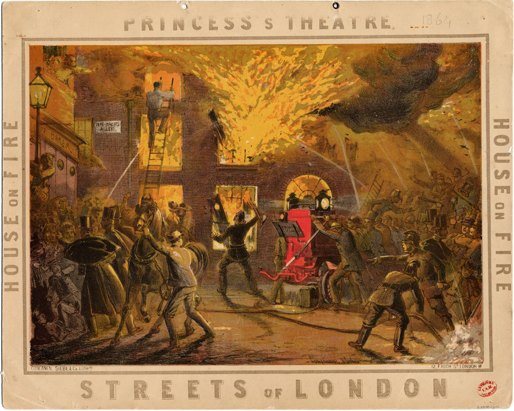 advertising card for the streets of london princess theatre coloured ink on paper published by concanen lee siebe london 1864 museum no
