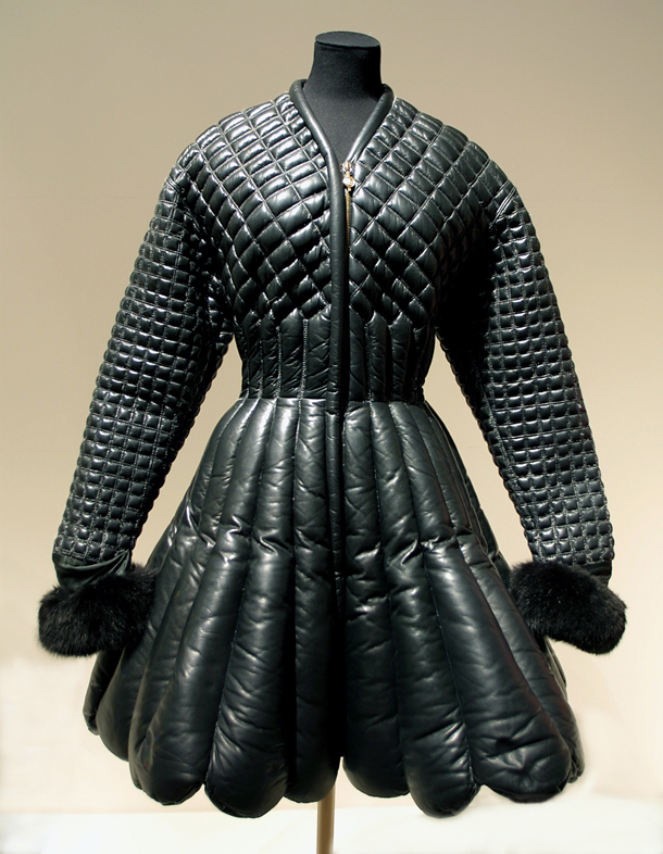 3dac8831 Coat and belt, Autumn-Winter 1992/93, Versace, padded and quilted black  leather trimmed with fox fur and astrakhan, black leather with gilt  embellishments