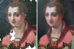 Figure 4 - Portrait of a Lady before and after retouching. Photography by Gabriella Macaro