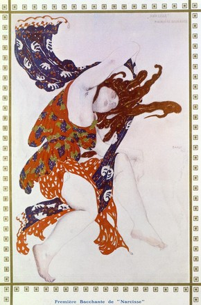 Costume design for the Premiére Bacchante in the ballet Narcisse, Leon Bakst, 1912