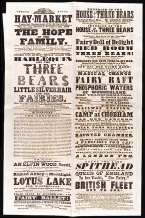 Printed playbill for 'Harlequin and the Three Bears', Haymarket Theatre, London, 1853. © Victoria and Albert Museum, London