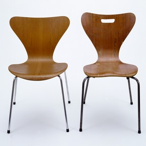 Chairs:(left) Model 3107, designed by Arne Jacobsen, 1957. Museum no. CIRC.371-1970 (right) Copy by unknown designer, possibly by Heal's London, 1962. Museum no. LOAN:AMERICANFRIENDS.2-2001