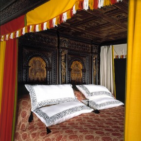 Interior view of the 'Great Bed of Ware', carved oak bed, probably from Ware, Hertfordshire, UK, about 1590, with reproduction hangings and bedclothes. Museum no. W.47-1931
