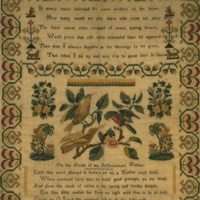 Sampler, Eliza Richardson, made 1837, wool, embroidered with silk in cross stitch, 42 cm x 31.8 cm, England, given by Mrs E. M. Baillie. Museum no. T.3-1930