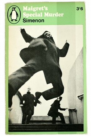 Front cover of 'Maigret's Special Murder' by Georges Simeon, designed by Karl Ferris, published by Penguin, 1966. Museum no. LOAN:PENGUIN BOOKS