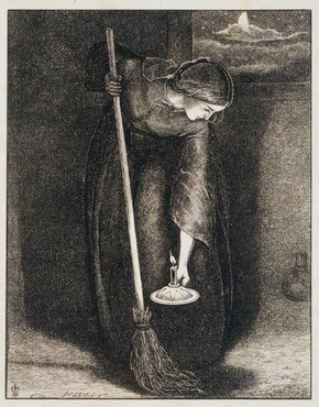 'The Parable of the lost piece of silver', wood engraving by John Everett Millais, England, UK, about 1864. Museum no. E.283F-1893