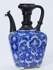 Ceramic ewer, with corroded silver 19th century mounts (before treatment), 1520. Museum no. C.2008-1910