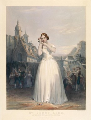 Jenny Lind as Amina in Bellini's La Sonnambula, lithographic print, around 1847