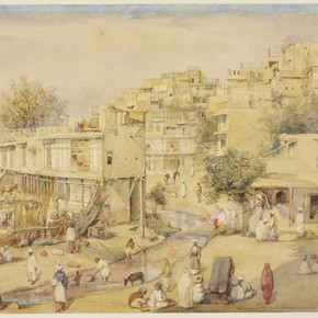 View of houses adjoining a stream, Peshawar by William Carpenter. Museum no. IS.76-1882