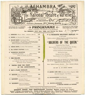 Alhambra Theatre programme featuring Houdini, printed by Weiners Limited, London, 1900. © Victoria and Albert Museum, London
