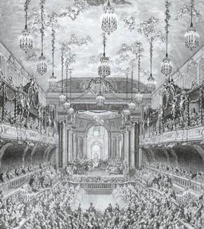 Charles Nicolas Cochin, Ballet at Versailles, engraving, 1745