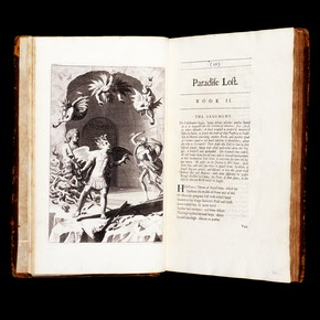 Paradise Lost (4th Edition), by John Milton, engraving by M. Burgesse, England, UK, 1688. Museum no. NAL DYCE 6606