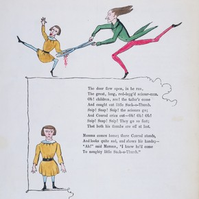 Illustration from 'The Story of Little Suck a Thumb', from 'The English Struwwelpeter', by Heinrich Hoffmann, Leipzig, Germany, 1860-9. Pressmark NAL 60.A.45