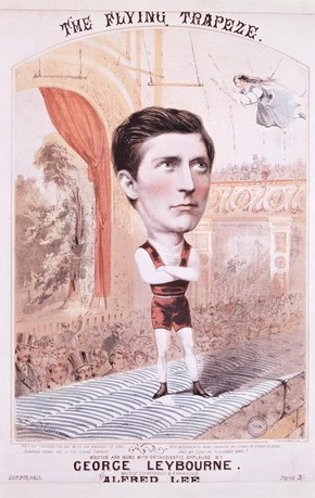 Illustrated music cover for 'The Daring Young Man on The Flying Trapeze' as sung by George Leybourne, 19th century. Museum no.  S.2590-1986, © Victoria and Albert Museum, London