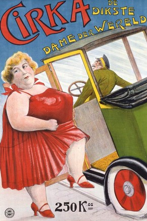 Circus memorabilia poster, 'Cirka : De Dikste Dame der Wereld', printed by Marc, Brussels, Belgium, 1928