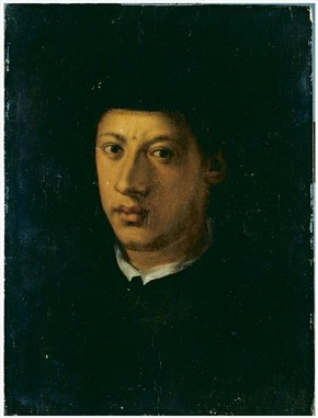 Portrait of Alessandro de' Medici (detail), after Jacopo da Pontormo, about 1550. Museum no. CAI.171. Ionides Bequest