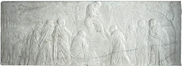 Marble relief depicting The Ascension with Christ giving the keys to St Peter, by Donatello, Florence, Italy, about 1428–30. Museum no. 7629-1861