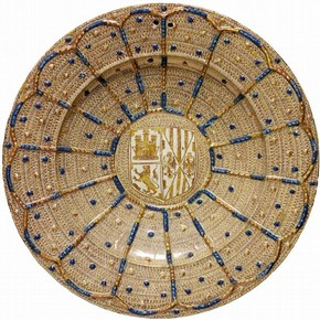 Dish with the arms of the Catholic Monarchs, Spain. Museum no. 1680-1855
