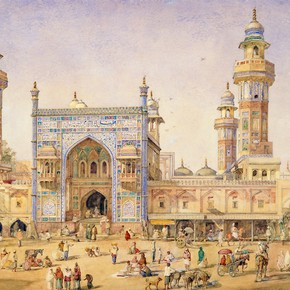 A View of The Mosque of Wazir Ali Khan at Lahore by William Carpenter, 1856. Museum no. IS.57-1882